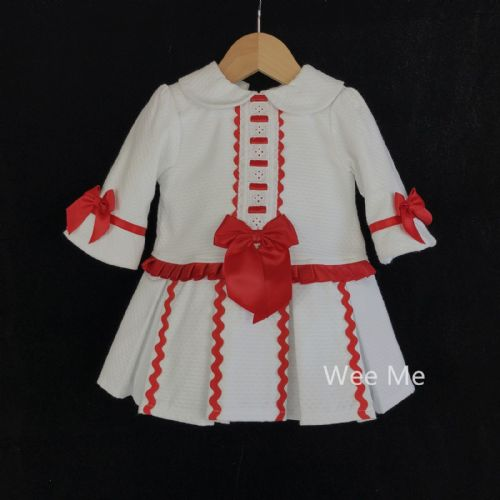 *SALE* Gorgeous Baby Girl Spanish Half Sleeve White Dress with Red Bow
